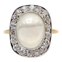 Art Deco 18K Gold & Platinum Moonstone Cabochon with Diamond Halo Ring