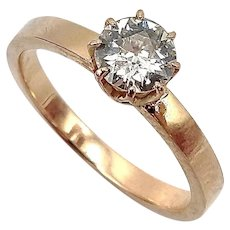 14K Rose Gold Old European Solitaire Diamond Ring