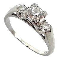 14K Gold Retro Diamond Engagement Ring