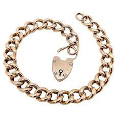 9K Gold Edwardian Curb Link Chain Bracelet with Heart Padlock