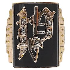 """10K Gold Victorian Letter """"P"""" Signet Ring with Onyx and Diamonds"""