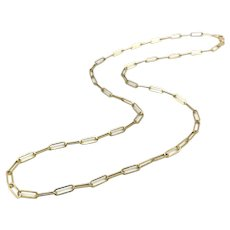14K Gold Small Paper Clip Link Necklace or Chain