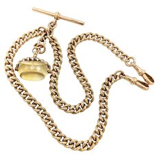 Heavy 9K Gold Curb Link Watch Chain or Necklace with T-Bar and Citrine Swivel Fob