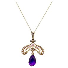 14K Gold Art Nouveau Amethyst, Pearl and Enamel Lavaliere with Chain