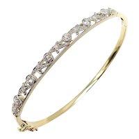 Edwardian 14K Gold Platinum Topped Bracelet with Old European Cut Diamonds