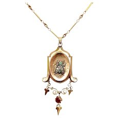12K Gold Victorian Fly Locket with Turquoise, Pearl and Ruby