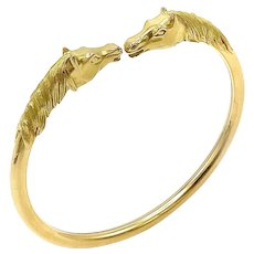 18k Gold Binder Bros Double Horse Head Bracelet