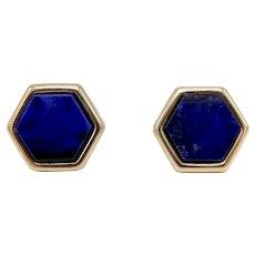 14K Gold Vintage Hexagon Lapis Lazuli Earrings