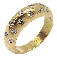 18K & Diamond Contemporary Dome-Shaped Ring