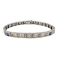 Art Deco, Sapphire, Diamond, 14K & Platinum Filigree Bracelet