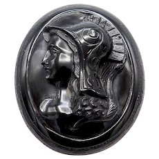 Victorian Whitby Jet & 14K Gold Pendant-Brooch With Warrior Cameo