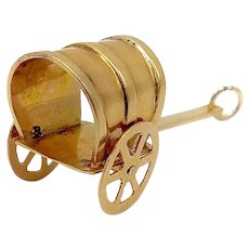 14K Gold Vintage American Covered Wagon Charm