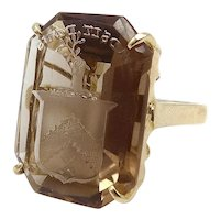 14K Smokey Quartz Carved Intaglio Ring