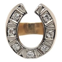 Vintage 18K Gold & Diamond Horseshoe Ring