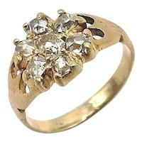 Old Mine Cut Diamond Flower Cluster Ring in 14K Gold