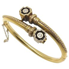 Etruscan Revival 14K Gold Bracelet with Diamonds