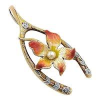 Edwardian 14K Gold Wishbone Charm with Enameled Flower