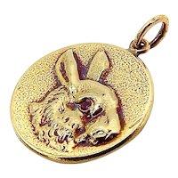 14K Gold & Ruby Victorian Inspired Signature Rabbit Pendant-Charm