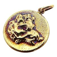 14K Gold & Ruby Victorian Inspired Signature Boar Pendant-Charm