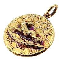 14K Gold Victorian Inspired Signature Jumping Rabbit Pendant-Charm