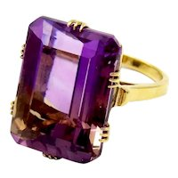 Retro 14K Gold & 23CT Ametrine Ring