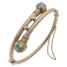 10K Gold Turquoise Etruscan Revival Bracelet