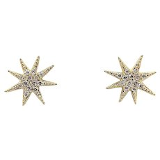 14K Micro Pave Diamond Starburst Stud Earrings