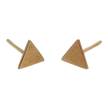 10K Brushed Gold Triangle Stud Earrings