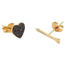 14K Gold Zoë Chicco Black Pave Diamond Heart and Arrow Stud Earrings