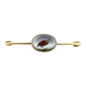14K Gold Reverse Painted Essex Crystal of Sand Piper Pin