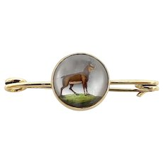 14K Gold Reverse Painted Essex Crystal Antelope Pin