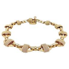Vintage 14K Gold Twisted Wire and Oval Link Bracelet