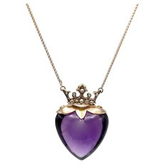 9K Gold Edwardian Amethyst & Pearl Crowned Heart Necklace