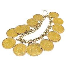 24K Gold Zecchino Coins on an 18K Gold Bracelet (100 grams)