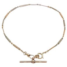 14K Rose and White Gold Watch Chain Necklace with 9K Gold T-bar