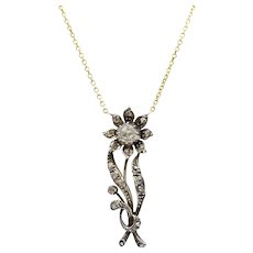Early Victorian Rose Cut Diamond 14K Gold and Silver Flower Necklace