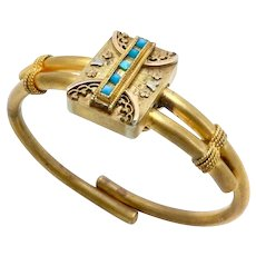 Victorian Etruscan Revival Gold Filled Hinged Bangle Bracelet with Turquoise