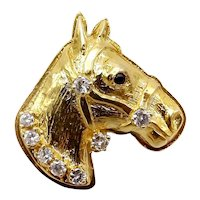 14K Gold Bas Relief Horse Head Pendant with Diamonds and Sapphire Eye