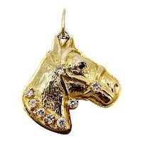 14K Gold Bas Relief Horse Head Pendant With Diamond Accents & Sapphire Eye