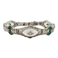 14K White Gold Art Deco Filigree Bracelet with Diamonds, Crystal and Chrysoprase