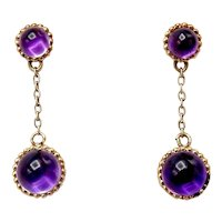 Victorian Amethyst Cabochon 14K Gold Drop Earrings