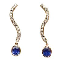 14K Gold, Sapphire and Diamond Dangle Earrings
