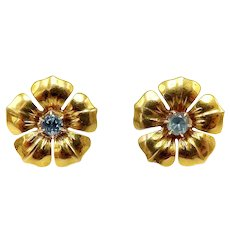 14K Gold Retro Flower Earrings with Aquamarines