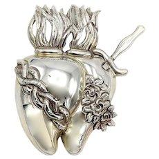 Double Heart 950 Silver Folk Art Milagro