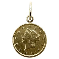 22K Gold 1851 Liberty Head One Dollar Coin Charm