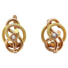 Victorian 14K Gold and Seed Pearl Lovers Knot Earrings