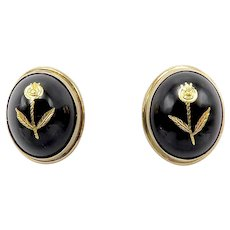 Victorian 14K Gold, Black Onyx Earrings