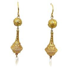14K Victorian Etruscan Revival Drop Earring