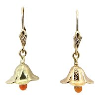 14K Gold Retro Coral Bell Dangle Earrings