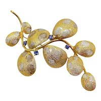 18K Italian Abstracted Vine Brooch w/ Sapphire Flowers